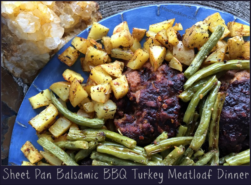 This easy all-in-one Sheet Pan Balsamic BBQ Turkey Meatloaf Dinner features a mini turkey meatloaf for everyone, plus a built-in side of roasted green beans and potatoes! Free form sheet pan meatloaf is so easy, so try this all-in-one, one pan meal for a different ketchup-free twist on your usual meatloaf recipe.