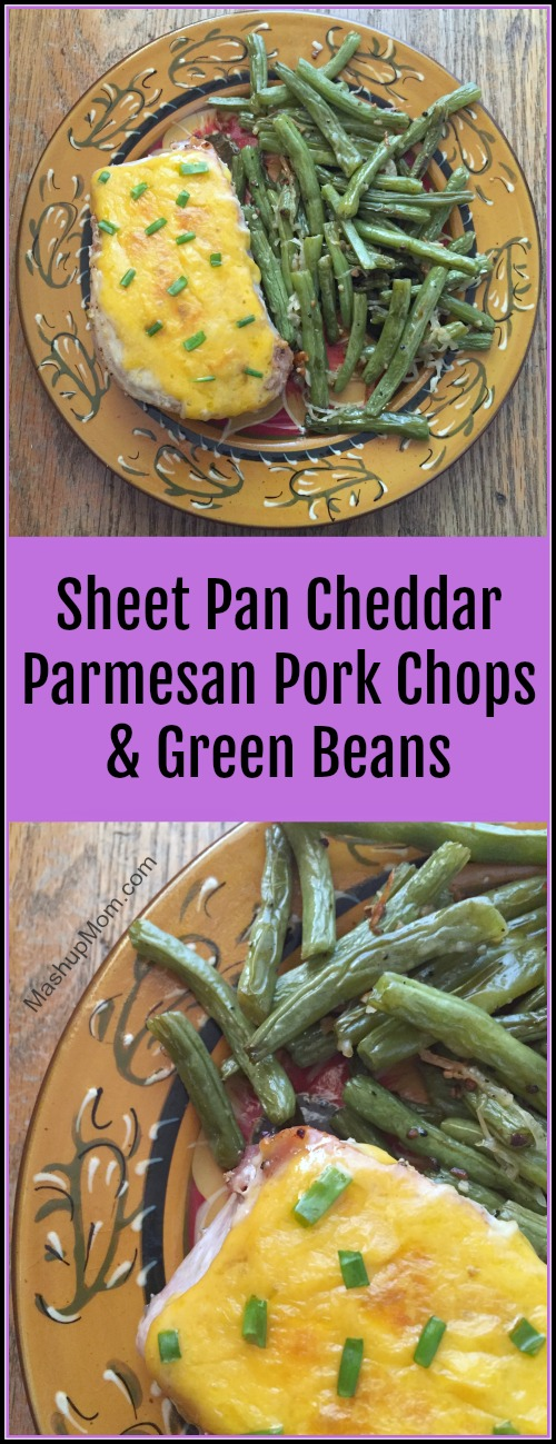 This sheet pan cheddar Parmesan pork chops & green beans recipe is naturally gluten free -- and, it's full of garlicky salty comfort food deliciousness. The chops stay nice and juicy in this one pan 45 minute weeknight dinner recipe, while the salty tang of the cheddar & Parmesan provides the perfect counterpoint.