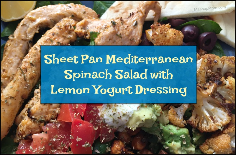 This mouthwatering sheet pan Mediterranean spinach salad with lemon yogurt dressing is naturally gluten free, and chock full of lemon, garlic, and oregano flavor.