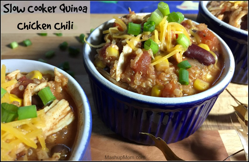 Slow cooker Quinoa Chicken Chili: This easy Crock-Pot chicken chili recipe packs a wallop in terms of both flavor and texture, while adding the quinoa really makes it an entire meal unto itself.