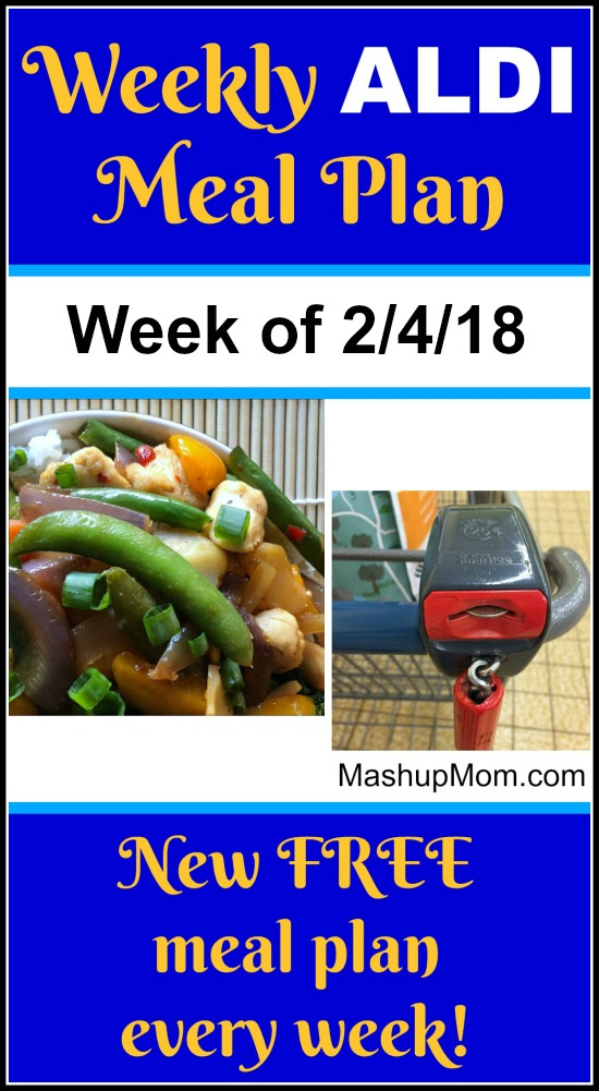 Looking for a free ALDI meal plan for February 2018? Here's your free meal plan for the week of 2/4/18 -- and find new ALDI meal plans each week! Save time and money with meal planning.