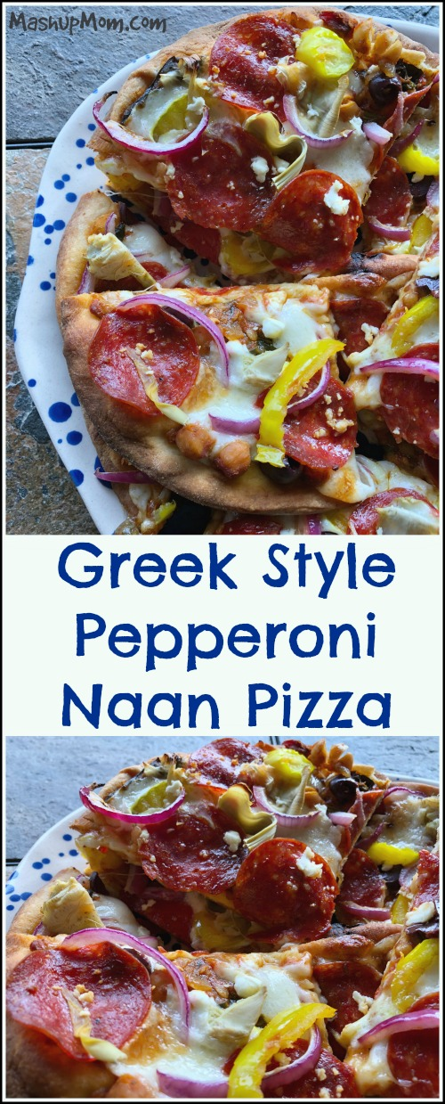 Naan pizza rocks! It's so easy to adjust this recipe for kids' tastes: Since each person gets an individual pizza, you can just make theirs straight up pepperoni mozzarella. As for the grownups, bring on all the things for a tangy, cheesy, and delicious Greek style pepperoni naan pizza experience.