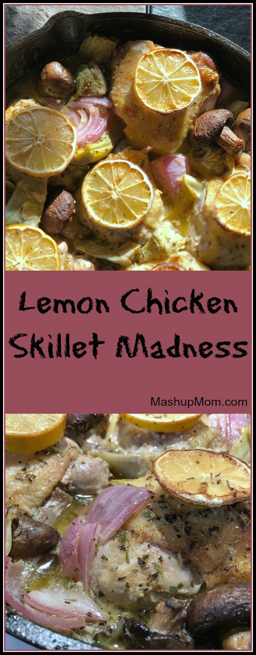 This lemon chicken skillet with artichokes and mushrooms is darn tasty, if I do say so myself! Just tangy enough and garlicky good, while the sauce also helps keep the thighs nice and juicy. Lemon Chicken Skillet Madness is naturally low carb and gluten free.