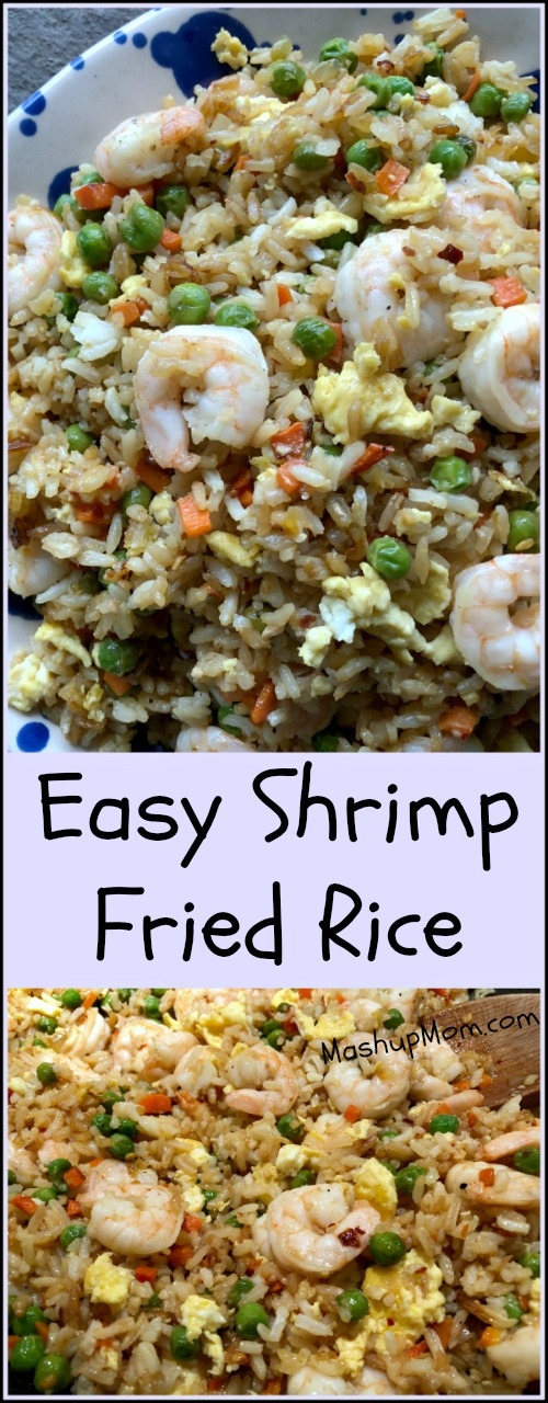 When you have this easy 30 minute weeknight dinner recipe for your own tasty shrimp fried rice, takeout just might become a thing of your past! This easy fried rice makes for a simple all-in-one crowd pleasing dinner, or you can pair it with a simple egg drop soup and/or fruit to make for a heartier meal.