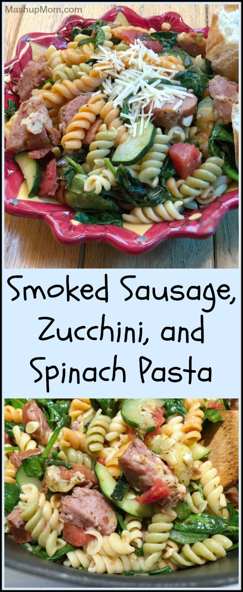 Smoked sausage, zucchini, and spinach pasta is a filling all-in-one weeknight dinner that's just jam packed with flavor. Mash up the salty goodness of Parmesan-roasted zucchini with the smoky flavor of kielbasa + fire roasted tomatoes to create a savory pasta dish the whole family will enjoy.