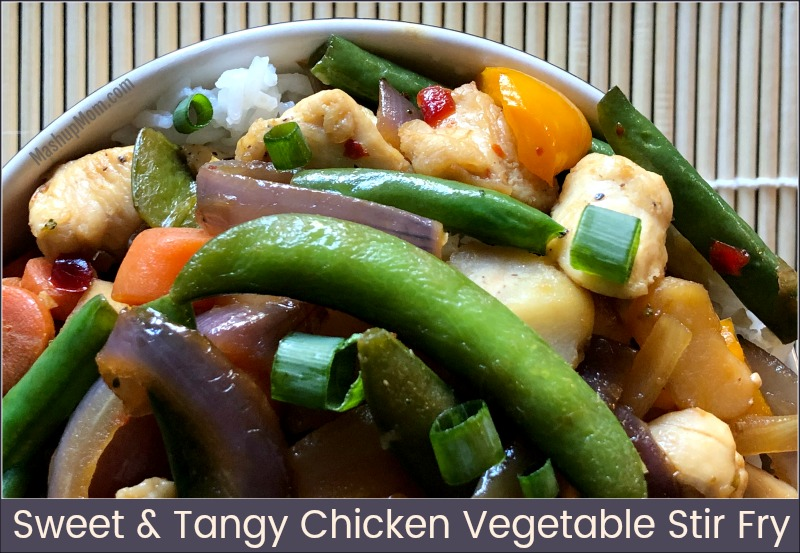 How about an easy 30 minute weeknight dinner recipe: Sweet & Tangy Chicken Vegetable Stir Fry! Red pepper jelly adds a sweet underlying tang to this easy 30 minute stir fry recipe, which complements both the salty soy and the slight kick from the red pepper flakes and ginger.