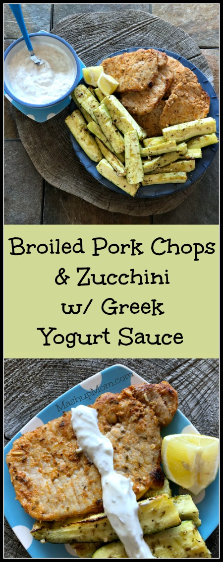 How about an easy broiled pork chops and zucchini recipe that is naturally low carb and gluten free? This flavorful 30 minute weeknight dinner creates its own built-in side -- making it an affordable dinner option for four. The Greek yogurt sauce here really brings out the flavor in both the zucchini and the chops, too! | MashupMom.com