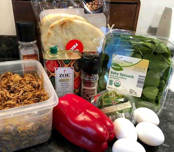 Pizza ingredients. Leftover Carnitas Naan Pizza, anyone? Sure, you could also eat this 30 minute weeknight dinner recipe as a hearty breakfast pizza, with the egg on top and all -- but then again, I'm generally of the opinion that pizza is nature's perfect breakfast food to begin with, so who am I to judge?