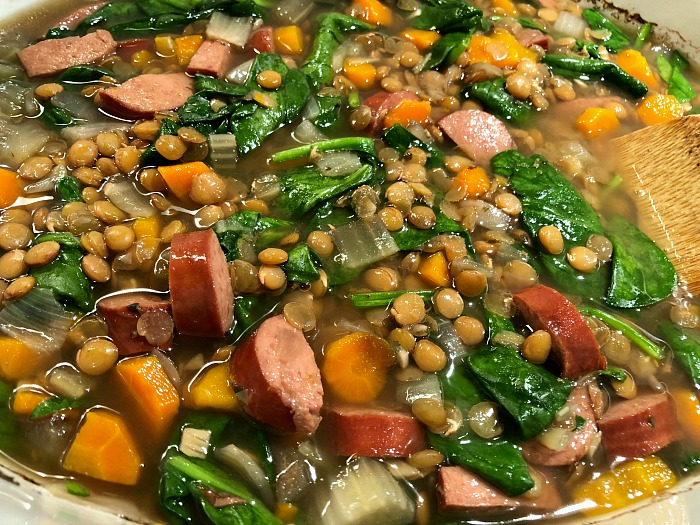 Slow Cooker Lentil & Smoked Sausage Soup is so easy: This simple sausage lentil soup only requires a few minutes of chopping before throwing everything into your Crock-Pot. Chock full of hearty veggies, smoked sausage, and lentils, this savory soup is the perfect comfort food for a cold day. Naturally gluten free.
