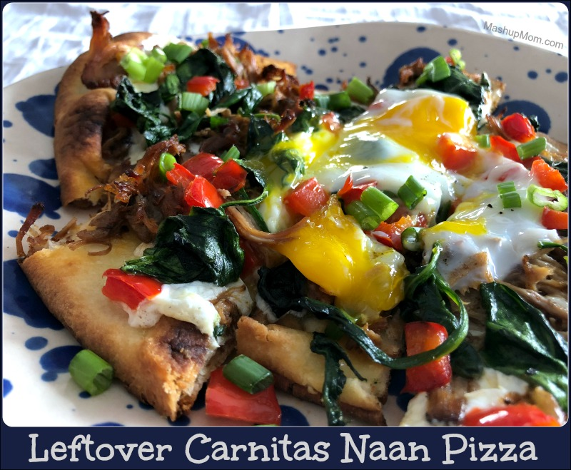 Leftover Carnitas Naan Pizza, anyone? Sure, you could also eat this 30 minute weeknight dinner recipe as a hearty breakfast pizza, with the egg on top and all -- but then again, I'm generally of the opinion that pizza is nature's perfect breakfast food to begin with, so who am I to judge?