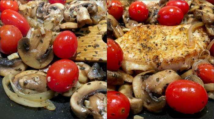 Pork chops, mushrooms, and tomatoes in pan. This quick skillet pork chops dinner takes just about 20 minutes to throw together, with most of that time actually spent on the veggies. These tender and flavorful skillet pork chops with mushrooms & tomatoes are also naturally low carb and gluten free!