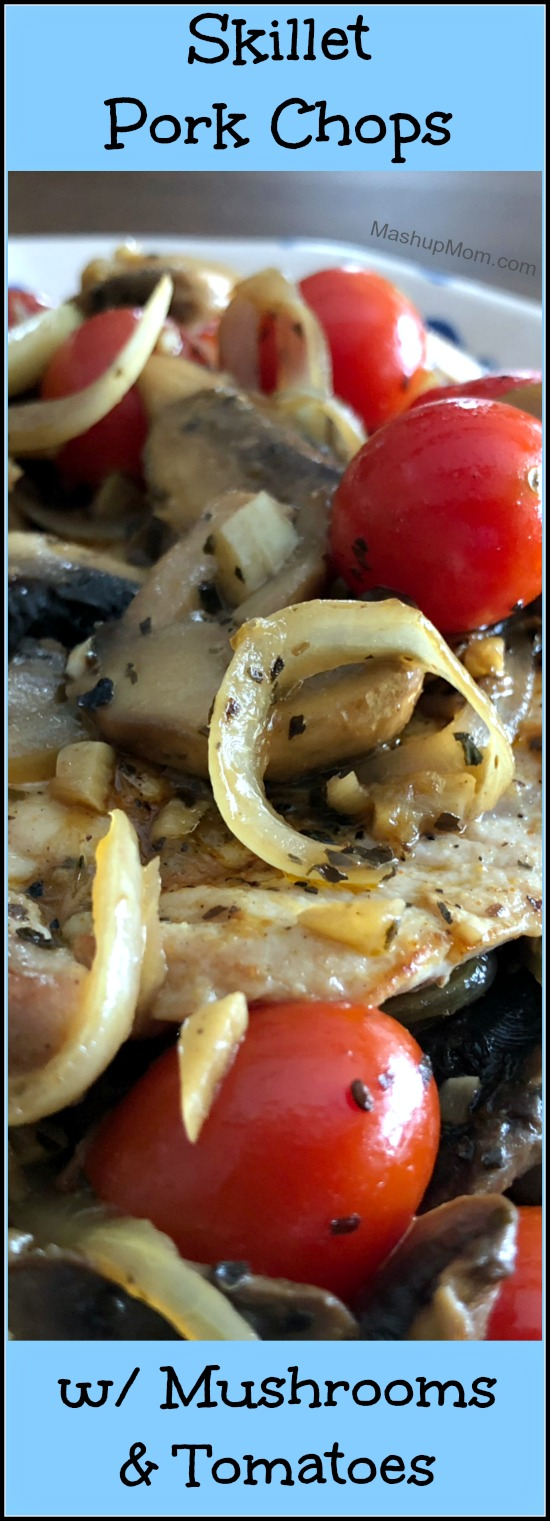 This quick skillet pork chops dinner takes just about 20 minutes to throw together, with most of that time actually spent on the veggies. These tender and flavorful skillet pork chops with mushrooms & tomatoes are also naturally low carb and gluten free!