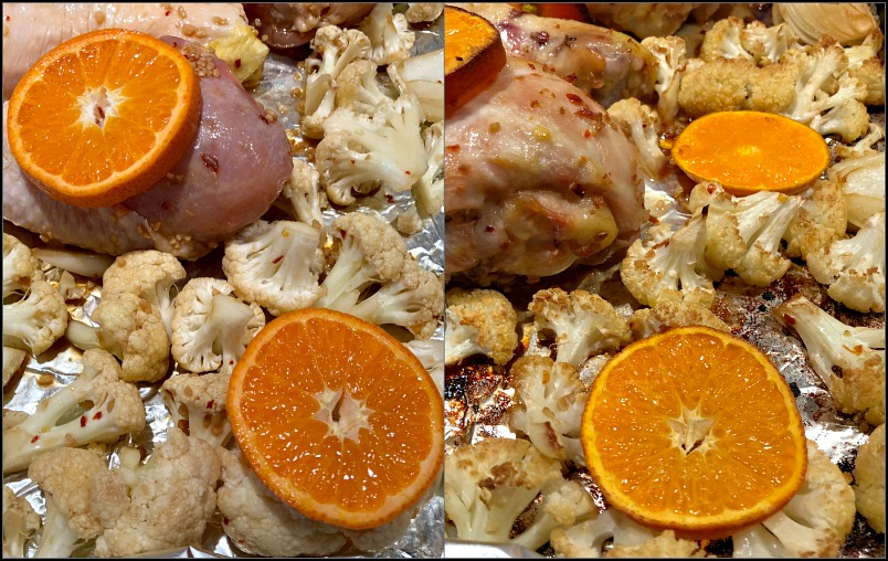 Citrus chicken drumsticks before and after baking