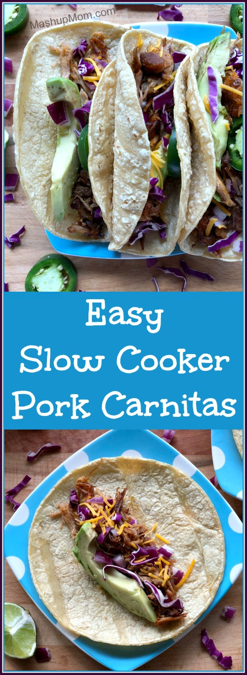 Easy Slow Cooker Pork Carnitas are a great way to make use of one of those big pork roasts that often go on sale. Throw this easy carnitas recipe into your Crock-Pot for up to ten hours before you leave for the day, and it takes just 20 minutes to shred and crisp up when you get home. Naturally gluten free (served on corn tortillas).