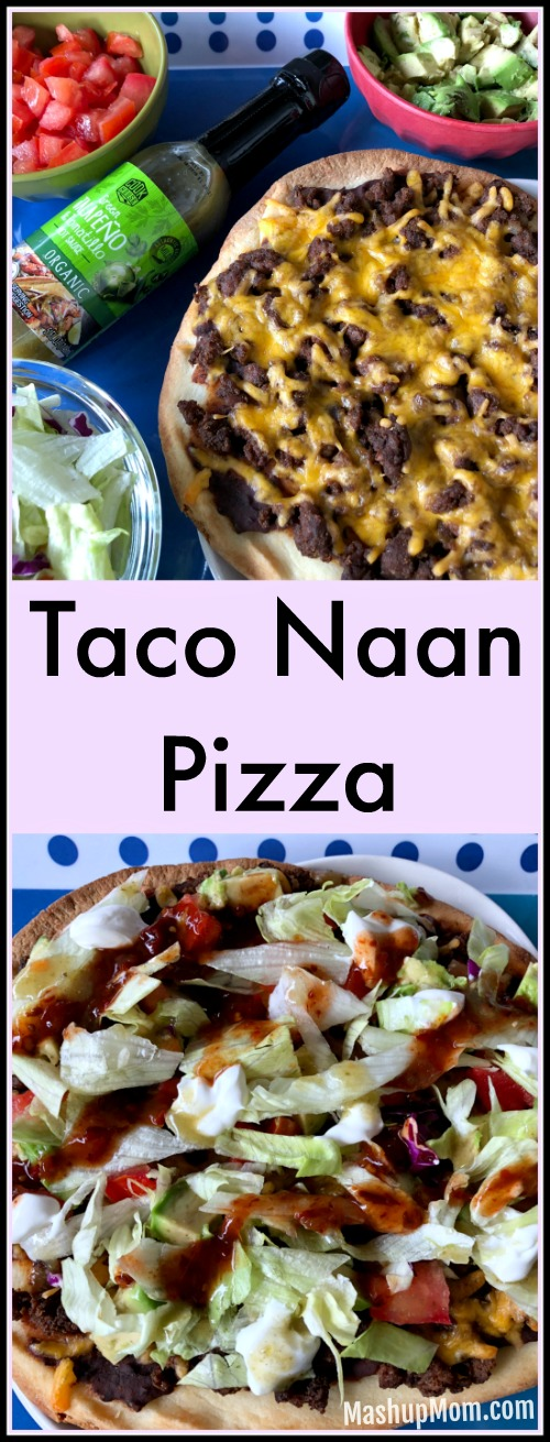 Taco naan pizzas are infinitely customizable to your own family's tastes and dietary preferences; make your own naan taco pizza bar! This easy 30 minute weeknight dinner is a fun twist on your usual Taco Tuesday -- or any night.