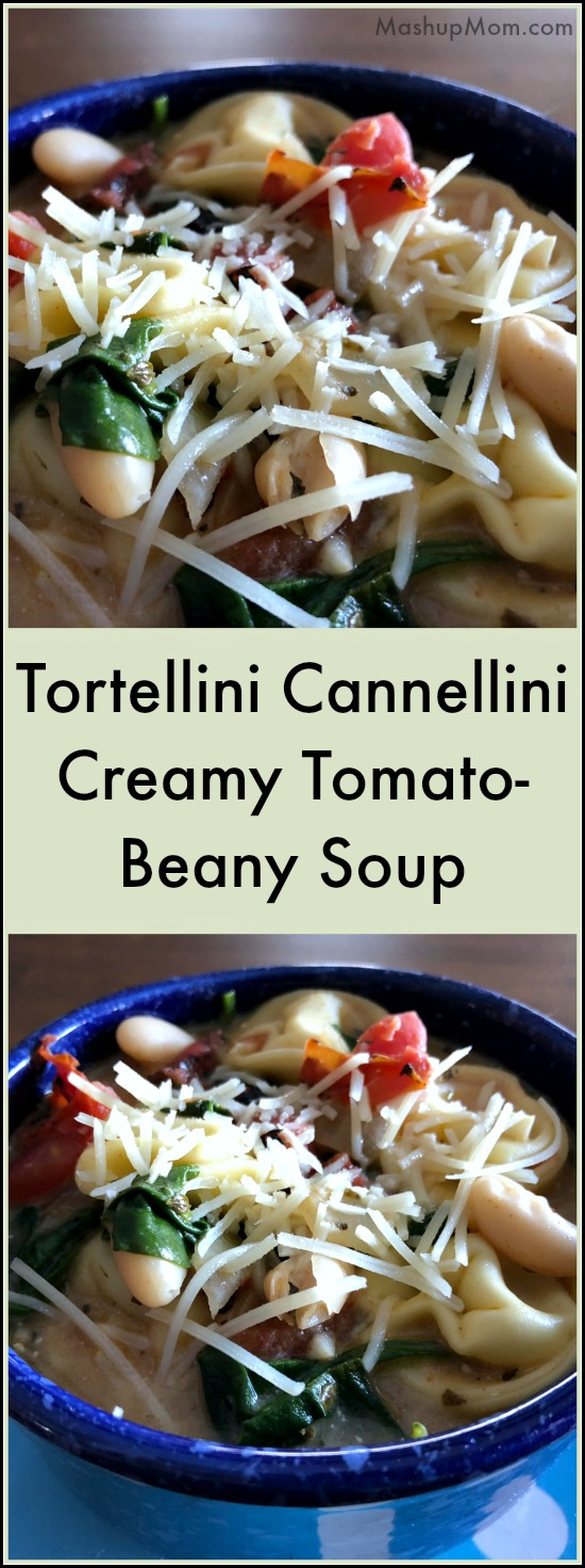 Tortellini Cannellini creamy tomato-beany soup is a quick and easy comfort food recipe for a chilly day -- A filling & flavorful meatless meal idea! The optional Parmesan topping nicely complements both the smoky tomatoes and the creamy broth in this 25 minute weeknight dinner recipe.