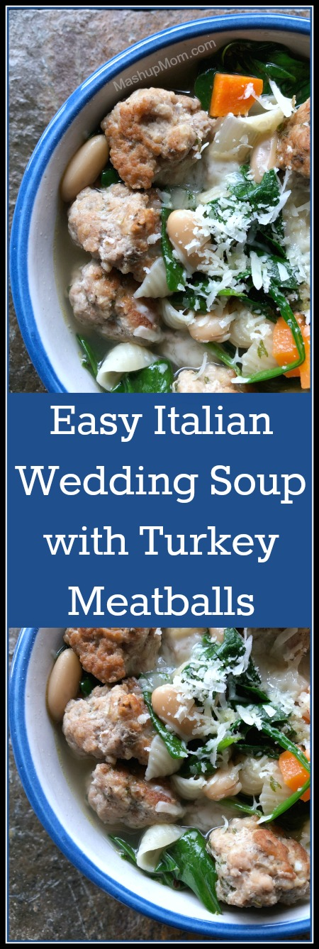 It's a recipe for easy Italian wedding soup with turkey meatballs: This hearty & flavorful soup is jam packed with veggies, pasta, beans, and meatballs; just add a crusty loaf of bread on the side for a simple yet filling meal.