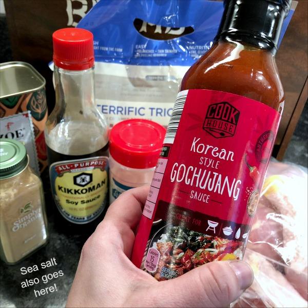 Gochujang chicken drumsticks ingredients showing ALDI Gochujang sauce.