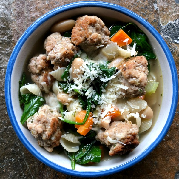 Easy Italian Wedding Soup with Turkey Meatballs