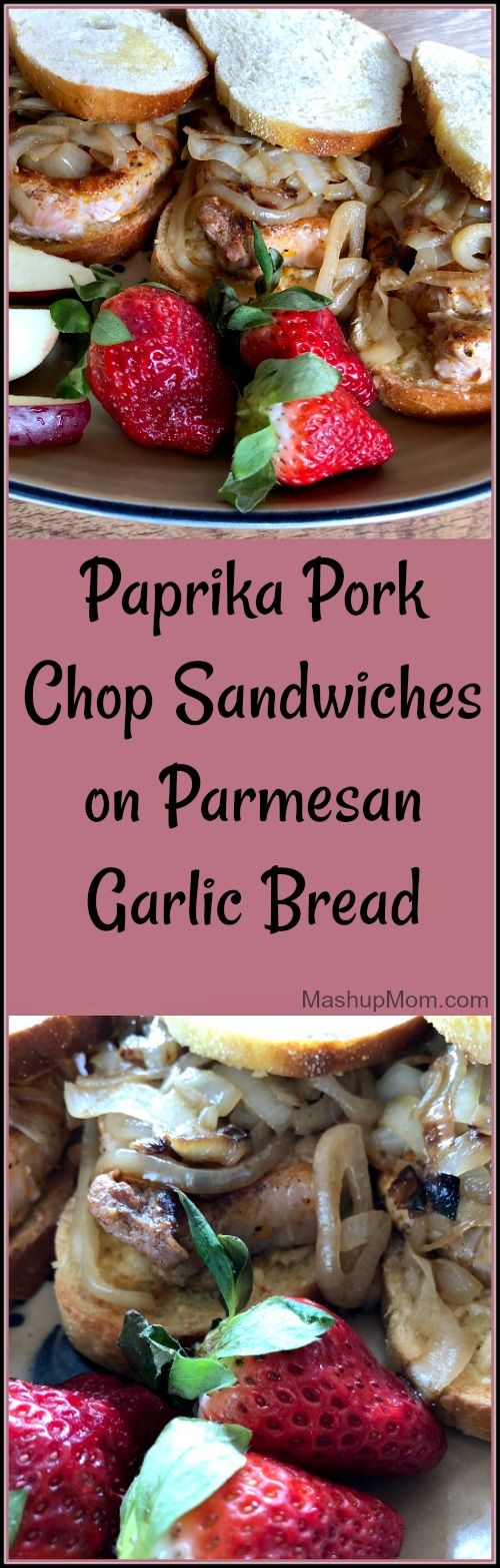 The salty Parmesan and the tangy onions work together to bring out the natural flavor of the pork in these easy 30 minute paprika pork chop sandwiches on Parmesan garlic bread. They don't need a lot of spicing up: Just a little salt, pepper, and paprika keeps the chops simple and flavorful.