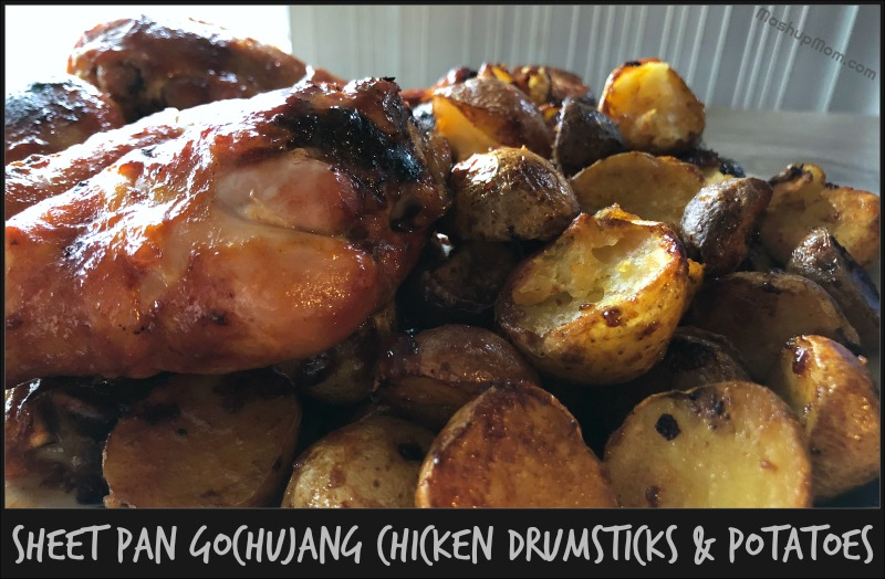 Sheet Pan Gochujang Chicken Drumsticks & Potatoes is an easy one pan meal that gives you so much flavor from just a few simple ingredients! The Gochujang sauce caramelizes nicely and lets all the sweet-smoky-spicy flavor permeate the drumsticks -- while also keeping them nice and juicy. Pair with a crisp green salad.