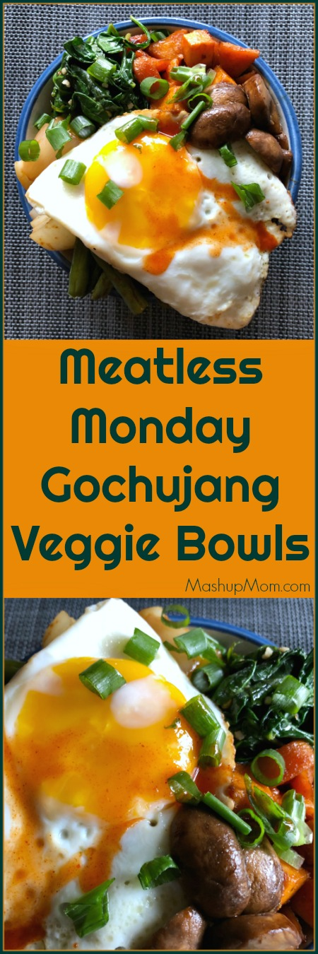 Filling rice, hearty mushrooms, and protein-packed egg make these Meatless Monday Gochujang Veggie Bowls a meatless meal that even confirmed carnivores can get behind. This vegetarian dinner recipe pairs crisp-tender green beans and onion with chewy mushrooms, soft spinach, & sweet potatoes; while a little salty soy sauce and rich sesame oil work together to kick up the sweet-smoky-spicy flavor of the Gochujang.