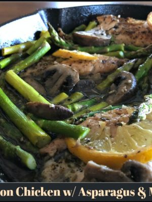 Baked Lemon Chicken with Asparagus and Mushrooms