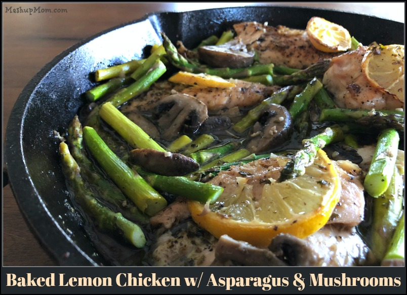 Fancy looking dinners don't necessarily have to be difficult to prepare, and this low carb, gluten free baked lemon chicken with asparagus and mushrooms is one of those recipes that gives you maximum impact for minimal effort. Simple + elegant is our theme of the day here, and this baked lemon chicken cast iron skillet recipe works equally well as a stay-at-home date night recipe or as a satisfying weeknight family dinner.