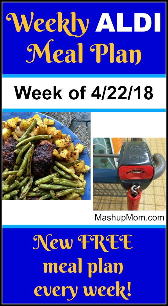 Looking for an April 2018 ALDI meal plan? Here's your free ALDI meal plan for the week of 4/22/18: Six complete dinners for four, $60 out the door! Save time and money with meal planning, and find new free ALDI meal plans each week.