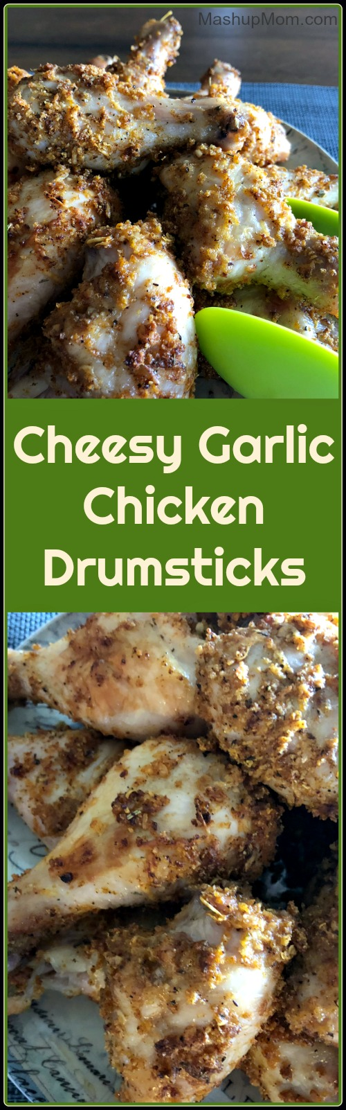 Tonight, why not shake up your normal chicken drumsticks recipe routine with these {title}? If you like garlic, youll probably like this affordable and kid-friendly recipe for easy, cheesy, garlicky good chicken drumsticks!