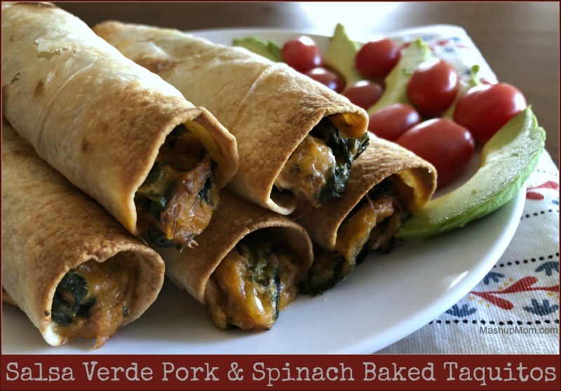pork & spinach baked taquitos