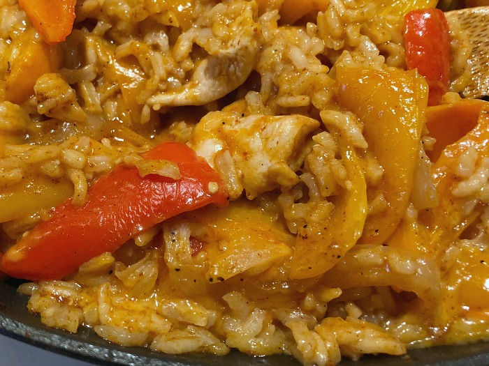 Chicken fajita rice skillet in pan