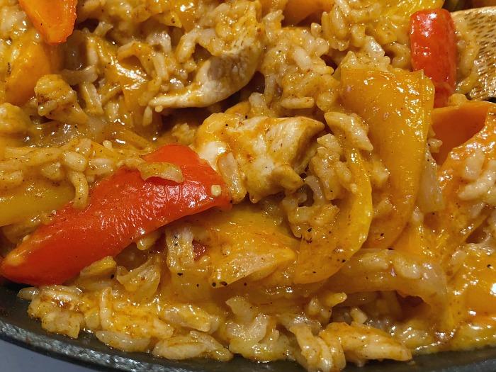 Chicken fajita rice skillet in pan