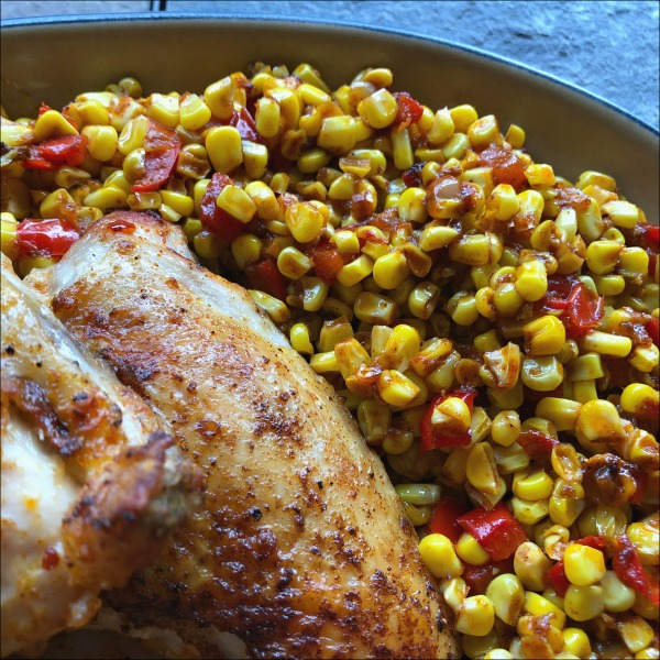 Plate of chicken and corn
