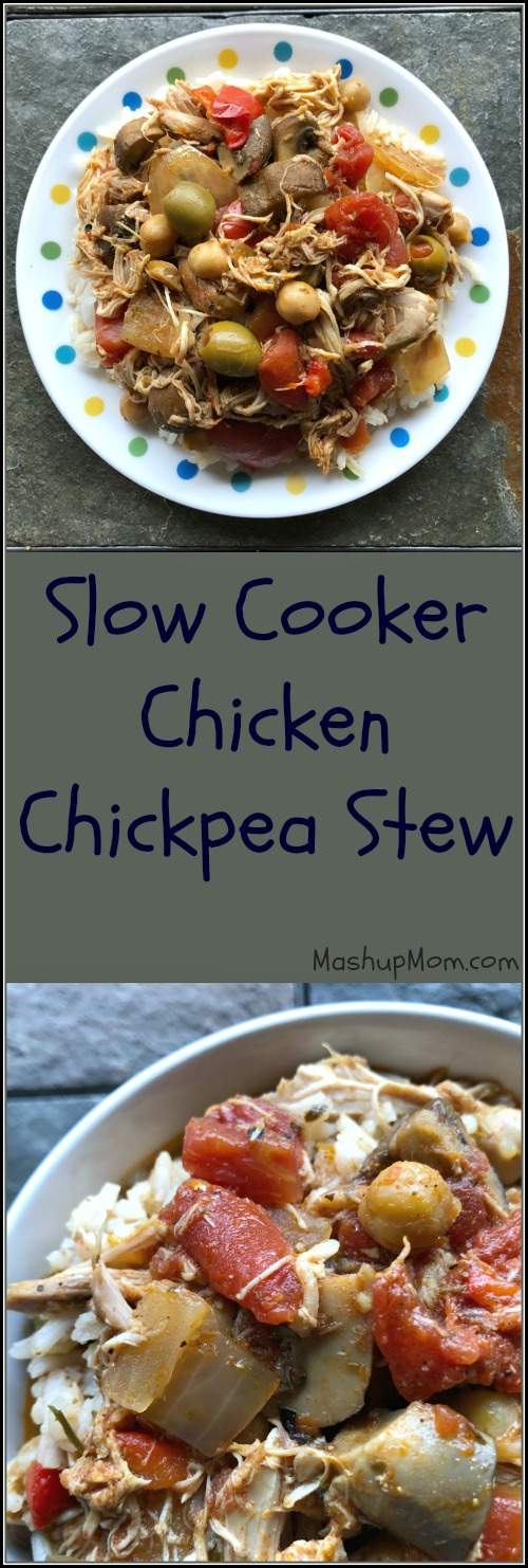 This easy Crock-Pot chicken stew recipe sports layers of flavor from garlic and spices, just enough underlying sweetness from bell pepper to balance out tangy olives and tomatoes, and satisfyingly contrasting textures in the chickpeas, shredded chicken, and mushrooms. Naturally gluten free and dairy free.