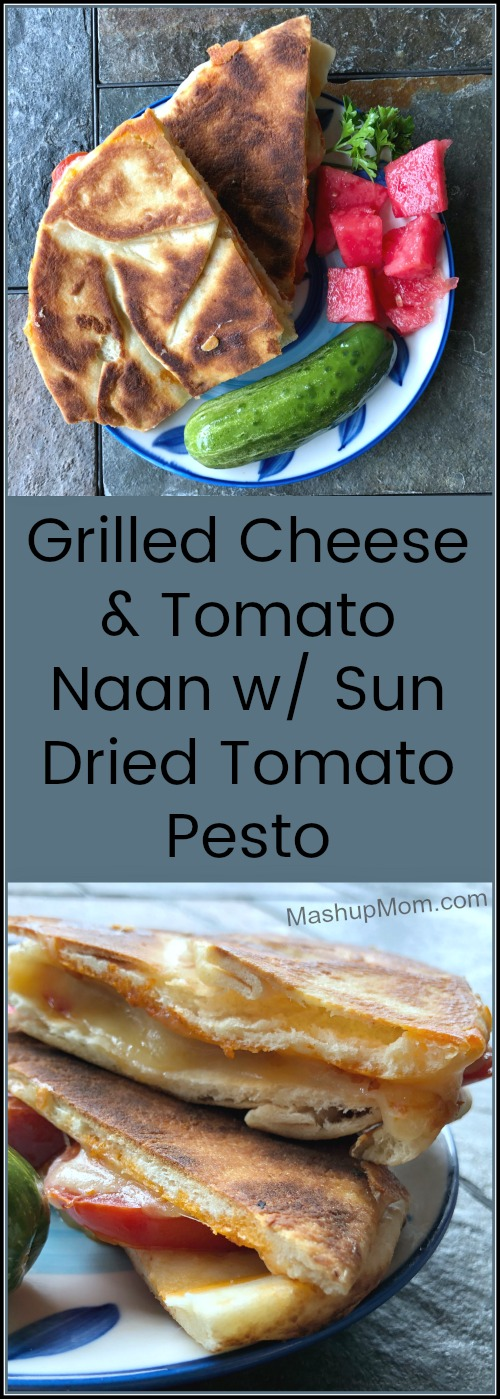 grilled cheese and tomato naan with sun dried tomato pesto