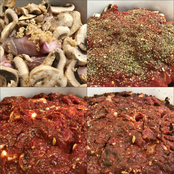 Stages of marinara chicken in Crock-Pot