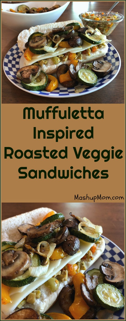What a fun way to eat your veggies, right? Muffuletta inspired roasted veggie sandwiches are a step up from your typical roasted vegetables + cheese; the tangy olive salad spread gets just a slight kick here from the crushed red pepper, which also contrasts nicely with the sweetness you get from oven-roasting your vegetables.Try this vegetarian sandwich recipe on your next Meatless Monday!