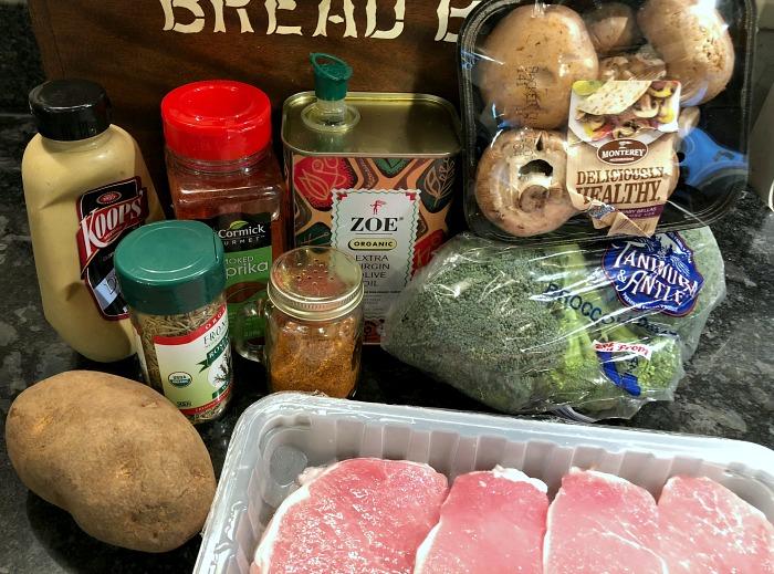 pork & potato sheet pan dinner ingredients