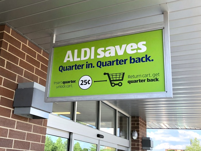 quarter in quarter back sign at aldi