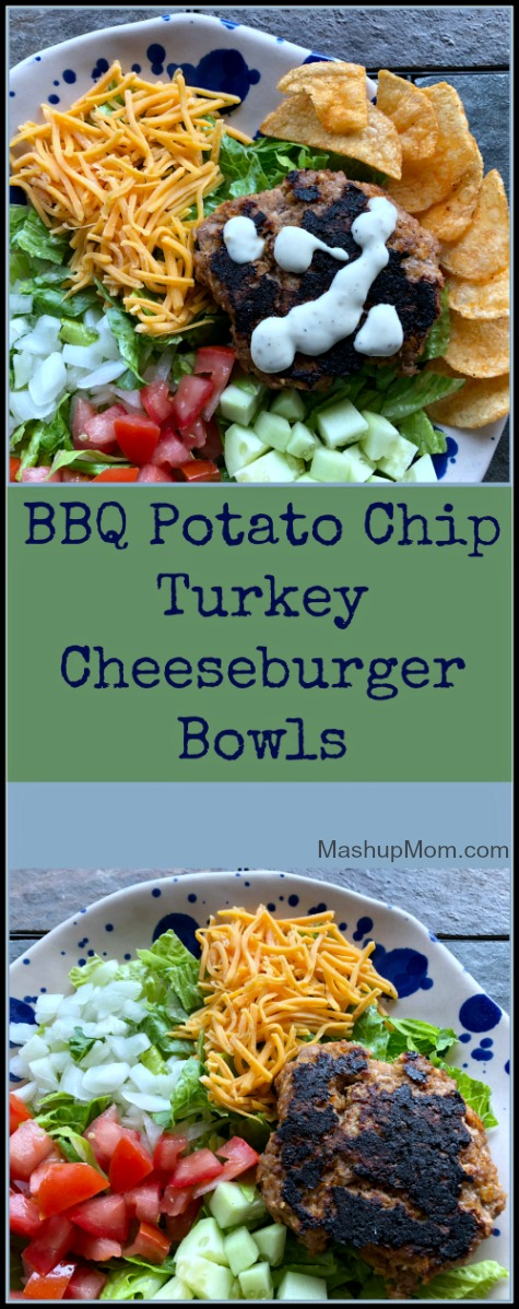 barbecue potato chip turkey cheeseburger bowls
