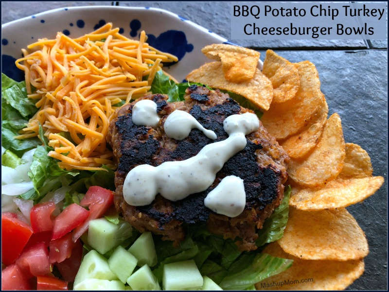 bbq potato chip turkey cheeseburger bowls
