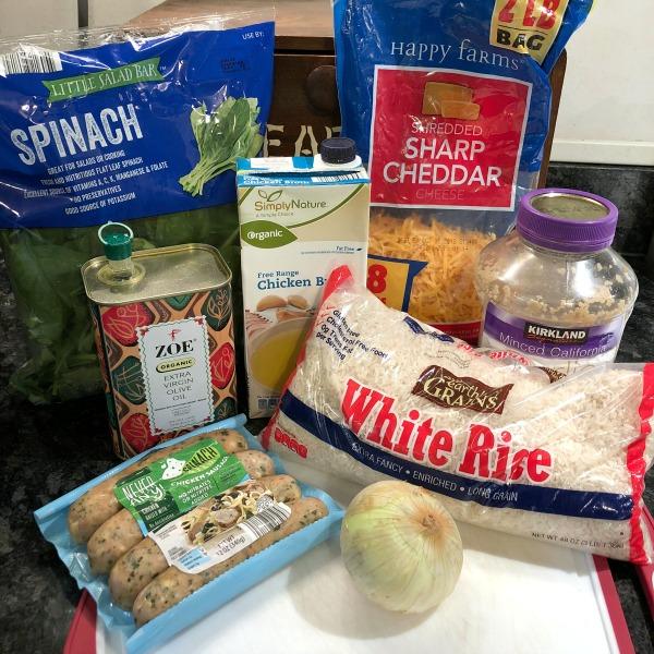 cheesy spinach sausage skillet ingredients