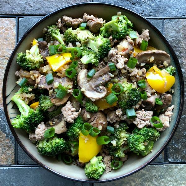Bowl of ground turkey and veggie stir fry