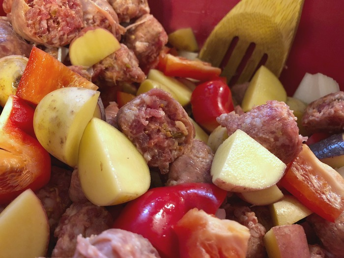sausage and veggies in a bowl