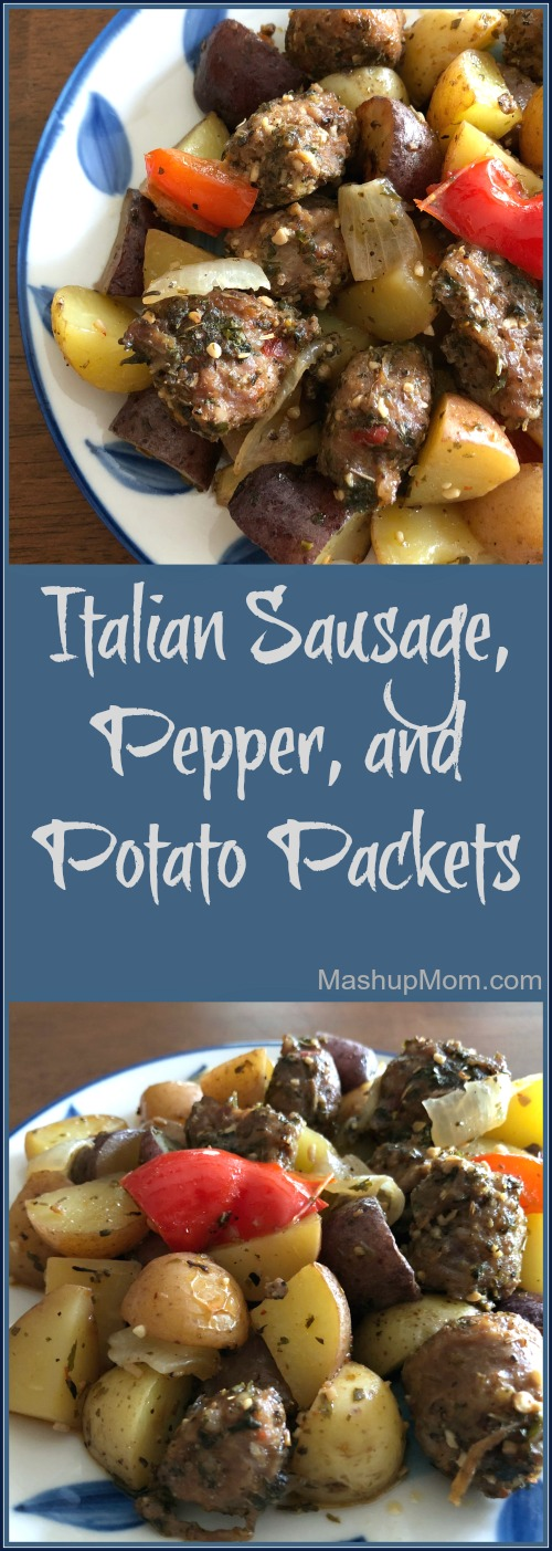 italian sausage, pepper, and potato packets recipe