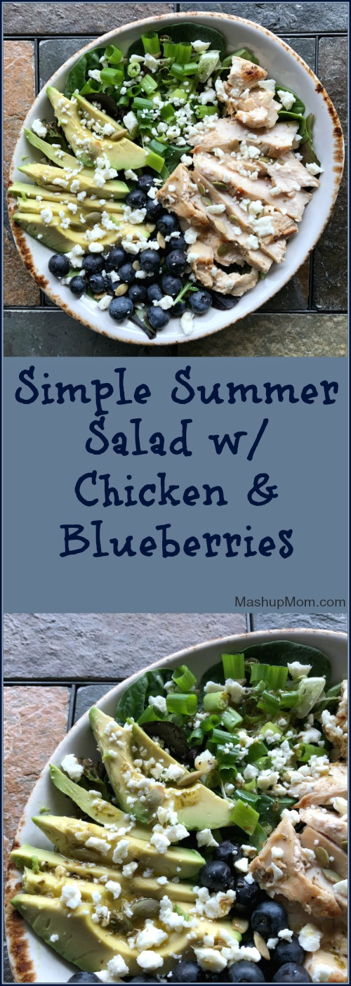 simple summer salad with chicken and blueberries