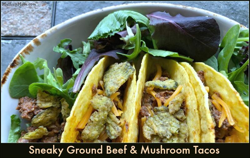 ground beef & mushroom tacos