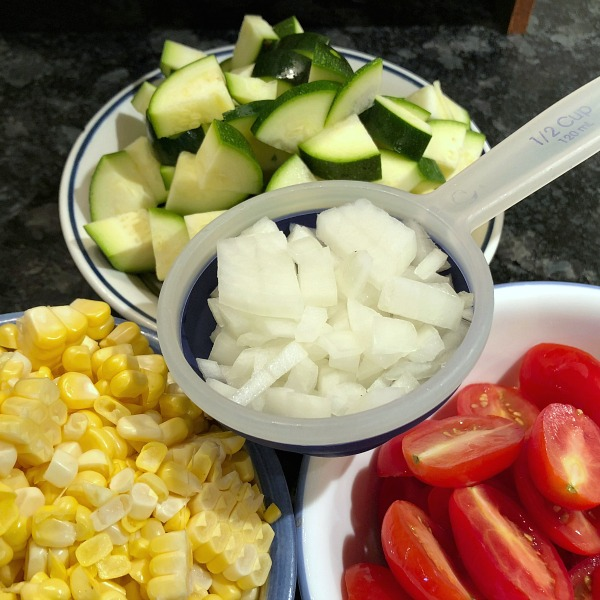 corn, zucchini, tomatoes, onion