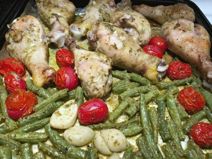 pesto drumsticks on a pan